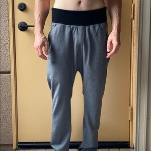Les Hommes  mens grey wool dropped crotch pants